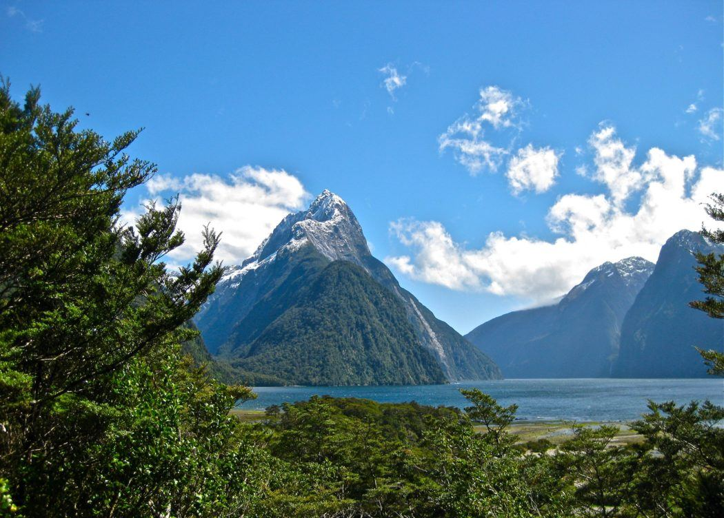Mitre Peak at Milford Sound in New Zealand