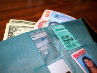 Allett leather travel wallet