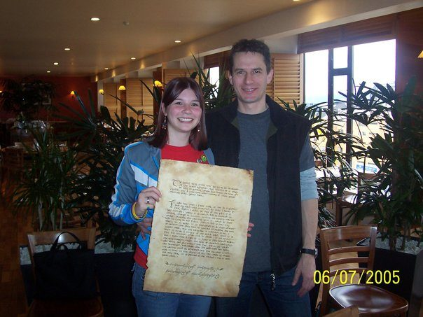 With calligrapher Daniel Reeve