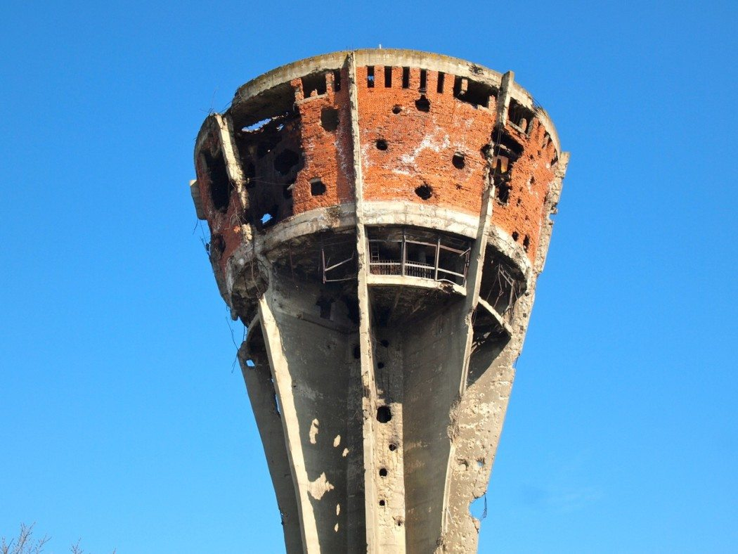 Bombed out water tower in Vukovar, Croatia