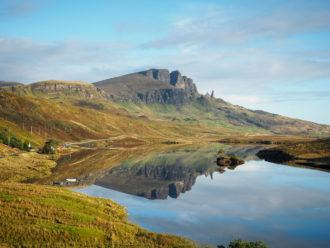 Old Man of Storr reflected in Loch Fada on the Isle of Skye