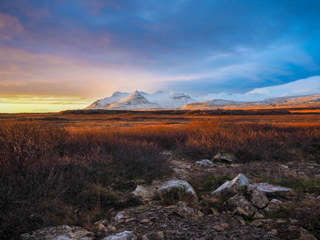 Mountain sunset in Iceland