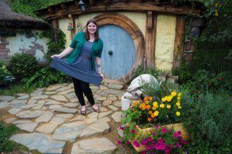 Amanda on a Hobbiton tour