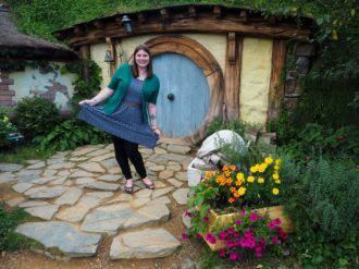 Amanda on a Hobbiton tour