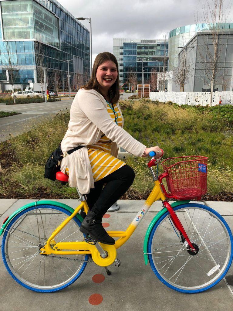 Amanda on a Google bike