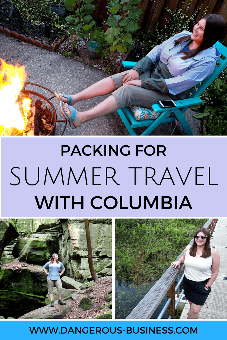 Sample summer travel outfits using Columbia clothing